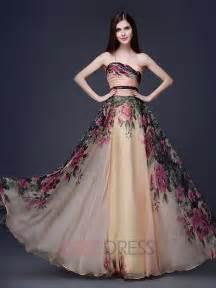 ericdress strapless a line floor length printing evening prom dress evening dresses 2015