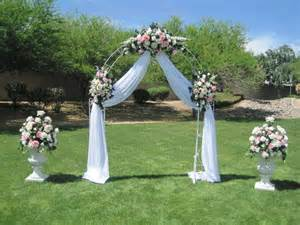 Wedding arch decor white wrought iron arch 3 white floral swags