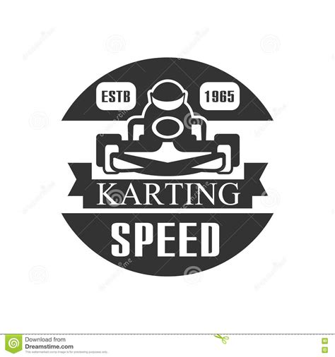 Karting Club Speed Racing Black And White Logo Design Template With Rider In Kart Silhouette Car Rider Sign Template