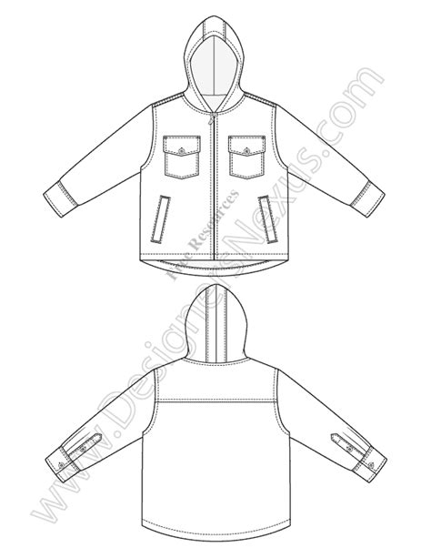 v33 hooded jacket childrens fashion flat sketch free