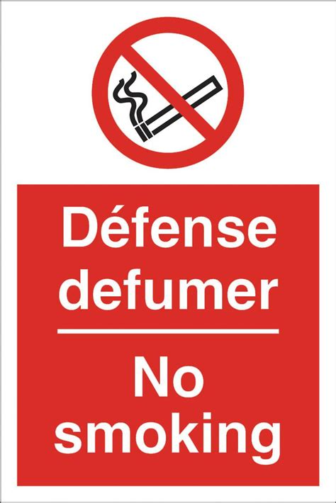 no smoking sign in french french no smoking sign 200 x 300hmm rigid plastic