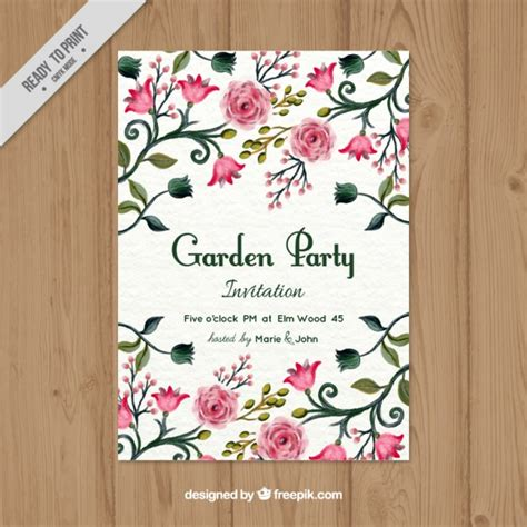 garden invitation template garden invitation vector free
