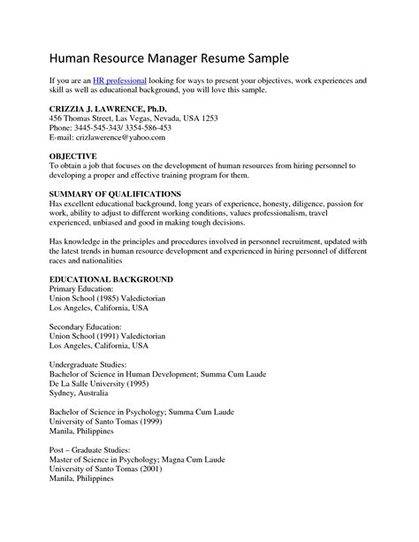Resume Summary Statement Human Resources Human Resources Objective For Resume Sles Of Resumes
