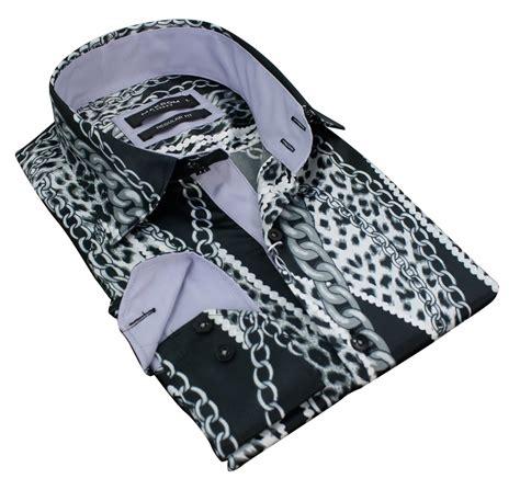 paisley pattern shirt ebay mens satin silk gold black grey button chain pattern