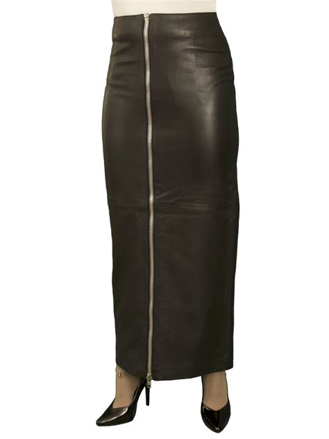 black leather maxi skirt with front zip luxury soft