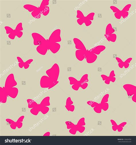 wallpaper butterfly pink vector pink butterfly on beige background seamless stock vector