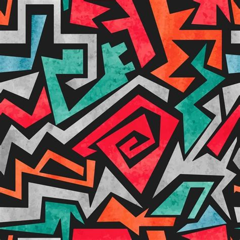 watercolor graffiti seamless pattern vector colorful