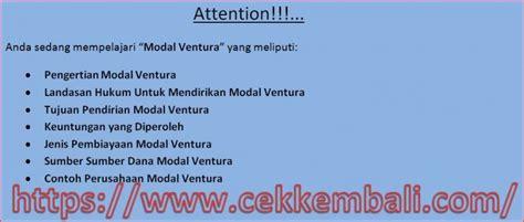 Modal Ventura pengertian fungsi jenis pembiayaan dan contoh modal ventura