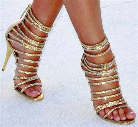 Gold Strappy Shoes Wedding by Sparkly Gold Strappy Heels We High Heels