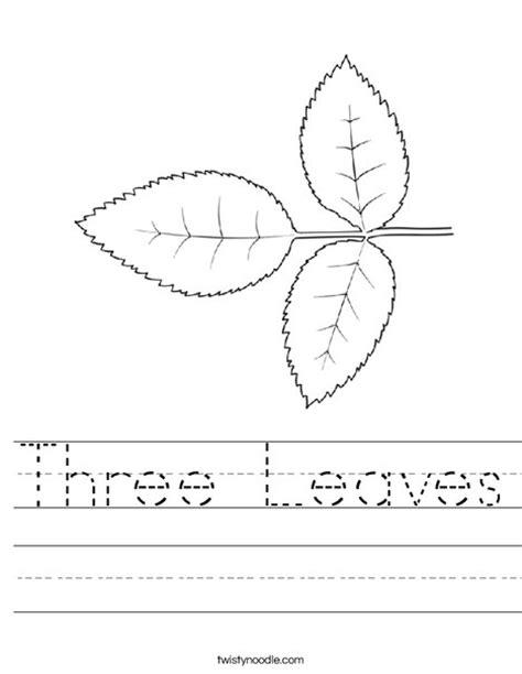 Leaves Worksheet by Three Leaves Worksheet Twisty Noodle