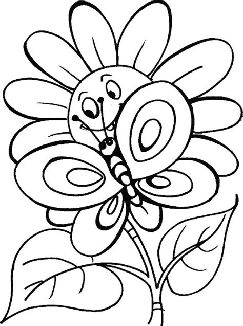 coloring pages flowers coloring town butterfly coloring clipart best