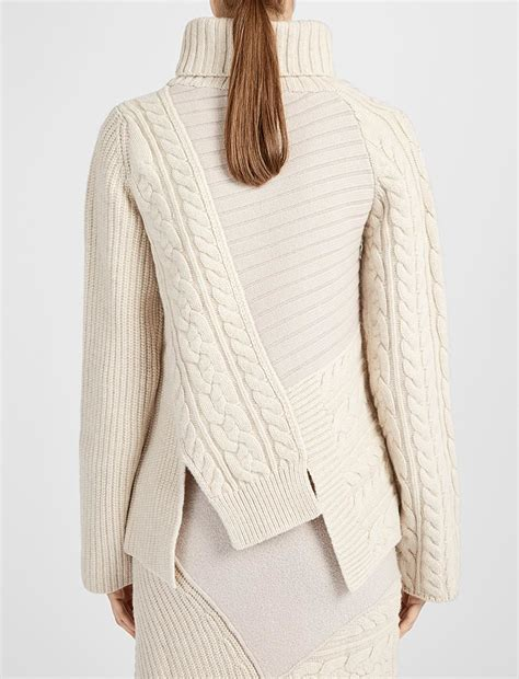 Patchwork Sweaters - joseph patchwork knit high neck sweater in lyst
