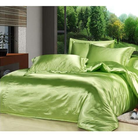 green king size comforter custom solid color bedding set green 50 silk satin