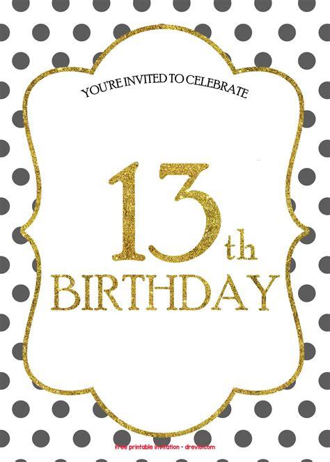 Free 13th Birthday Invitations Templates Free Invitation Templates Drevio 13th Birthday Invitation Templates Free