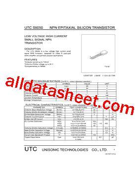 transistor datasheet s8050 s8050 datasheet pdf unisonic technologies
