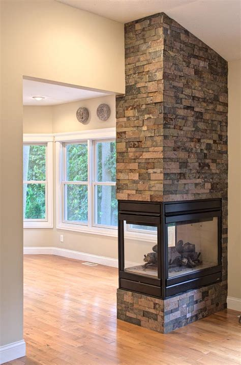 three sided gas fireplace fireplace designs