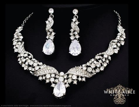 bridal jewelry set statement necklace earrings