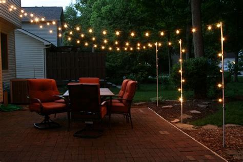 pinterest backyard lighting support poles for patio lights made from rebar and