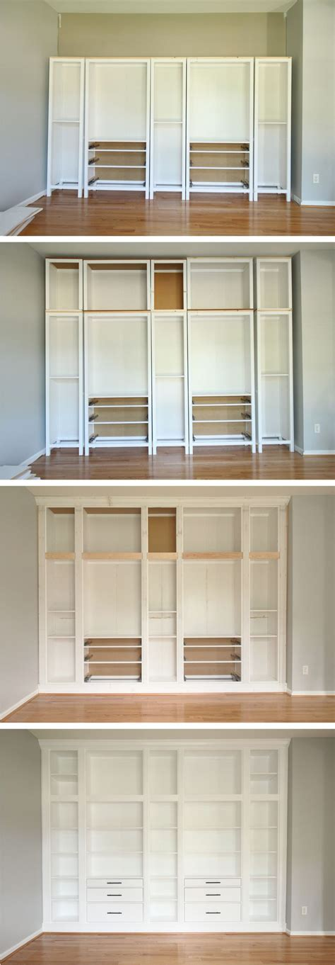 Ikea Bookcase Built In Hack | ikea hack diy built in bookcase with hemnes furniture