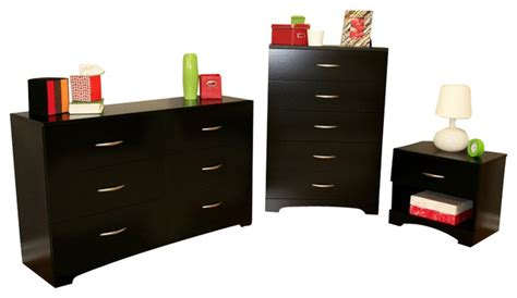 Bedroom Dressers And Nightstands South Shore Maddox Dresser Chest And Nightstand Set In Black Transitional Dressers By