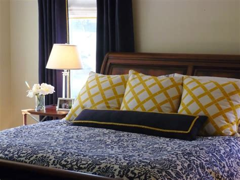 navy yellow bedding master bedroom pinterest