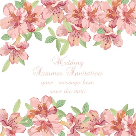 Wedding Flower Vector by Pink Watercolor Flowers Wedding Summer Invitation Vector