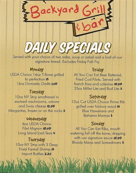 backyard grill and bar daily specials menu backyard