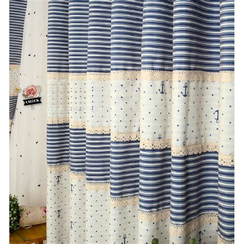 striped nautical curtains quality white blue cotton kids striped nautical curtains