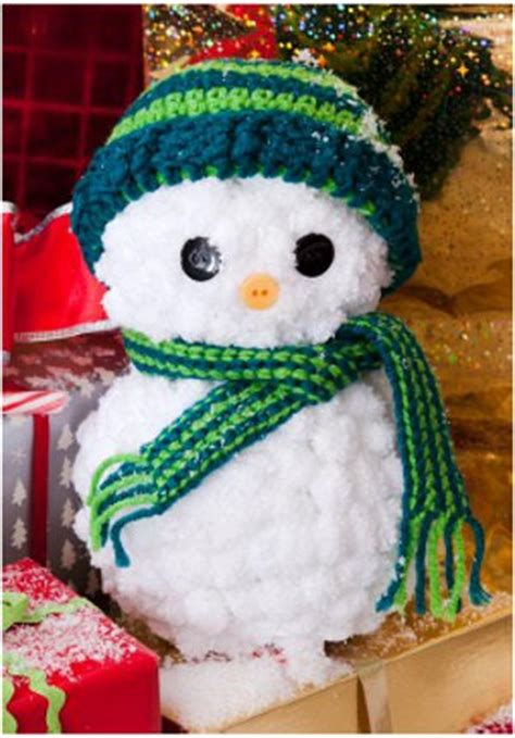 crochet christmas crafts easy yarn snowman with crocheted hat and scarf favecrafts