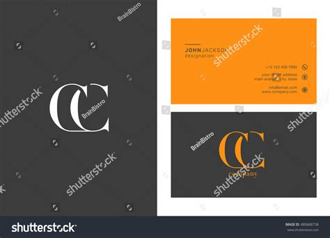 c business card template c c letter logo business card stock vector 480688738