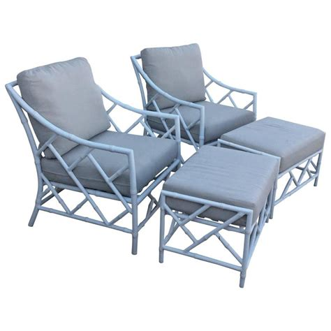 Patio Chairs With Ottomans Chippendale Pair Faux Bamboo Metal Patio Lounge Armchairs And Ottomans At 1stdibs