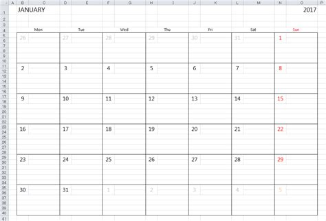 simple 2017 2018 excel calendar template