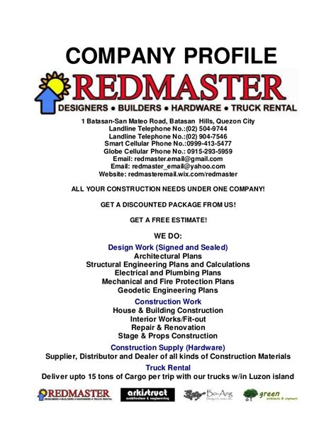 Redmaster Company Profile With List Of Projects And References Trucking Company Profile Template