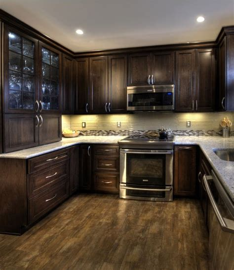 Dark Espresso Kitchen Cabinets by Durasupreme Cherry Cabinet With Mocha Finish Maniscalco