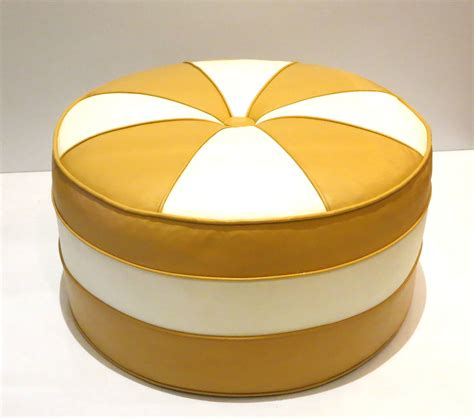 ottoman or hassock 1970s pop bicolor hassock pouf round ottoman in original