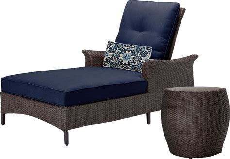 ensemble chaise table hanover gramercy outdoor chaise lounge chair and table set