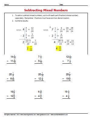 Adding And Subtracting Mixed Numbers Worksheet by Subtracting Mixed Number Fractions 187 Worksheetsdirect
