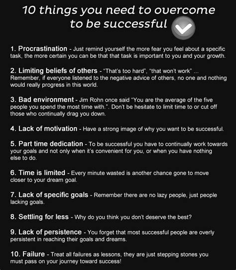 Quot 10 things you need to overcome to be successful quot success www energizethebunny com www
