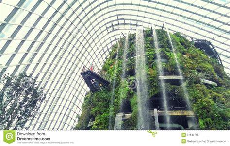 indoor garden  waterfall stock photo image  hotel