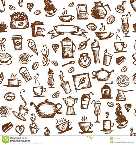 doodle free time coffee time seamless background for your design stock