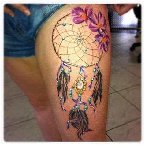 dream catcher thigh tattoo 60 dreamcatcher designs 2017