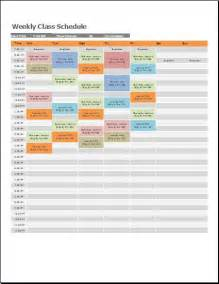 Excel Class Schedule Template by Ms Excel Weekly Class Schedule Template Formal Word