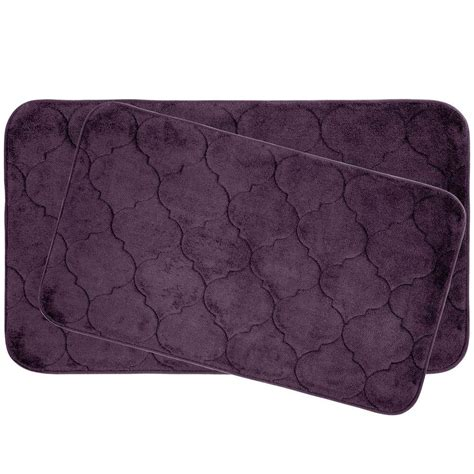 Plum Bath Rugs Bouncecomfort Faymore Plum 20 In X 34 In Memory Foam Bath Mat Set 2 Ymb004369 The