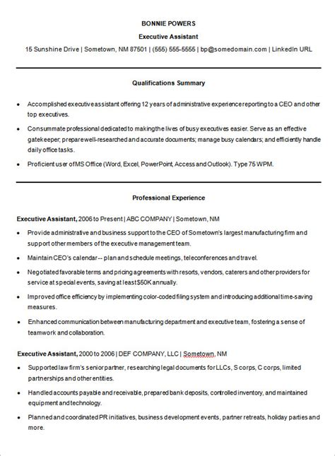 Executive Assistant Resume Template Word by 14 Microsoft Resume Templates Free Sles Exles