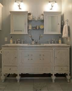 a bathroom vanity white and antique with white vanity