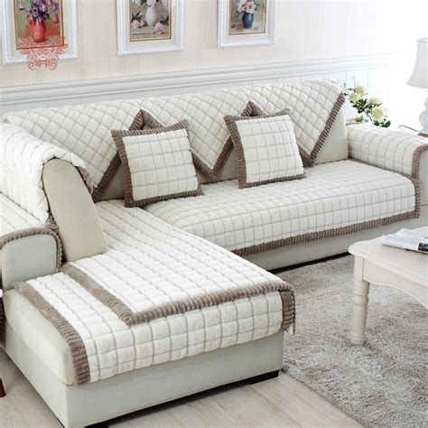 covering a sectional couch aliexpress com buy white grey plaid sofa cover plush
