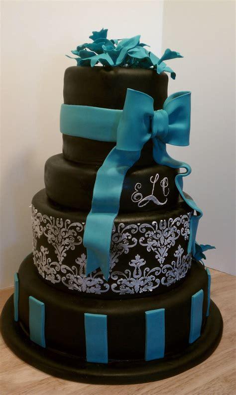 Cak New Black black white and teal wedding cake black white and