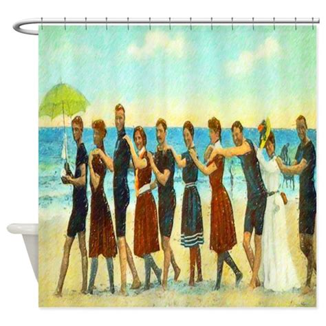 vintage beach shower curtain vintage beach dance shower curtain by rebeccakorpita