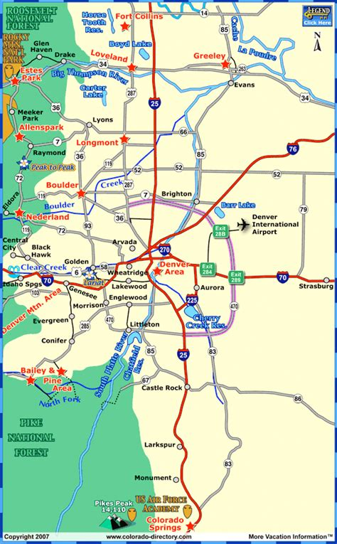 map denver colorado towns within one hour drive of denver area colorado