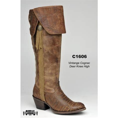 corral womens vintage deer knee high cowboy boots cognac